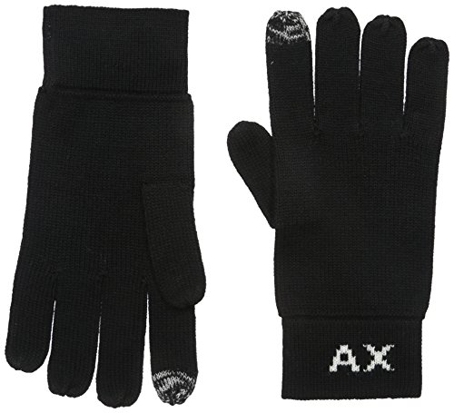 Armani Exchange Men's Knit Logo Gloves, black, Large/Xlarge