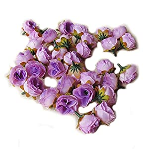 simulation Rose Flower - TOOGOO(R)100pcs Multi Color Small Tea Rose Diy Rose Flower Silk Flowers Artificial Flowers Heads For Home Wedding Decoration Flower Head£¨Lavender£ 16