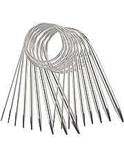 AIEX 9 Stks RVS Circulaire Breinaalden Set - Verschillende Maten Gehaakte Breinaalden Garennaalden voor Weven Project - 2,5mm / 3,5mm / 4,5mm / 5,5mm / 6mm / 7mm / 8mm / 9mm / 10mm