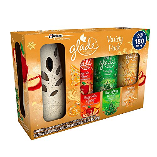 Glade Automatic Spray Starter Set Holiday Collection - Cozy Cider Sipping, Tree Lighting Wonder, Frosting With Love
