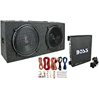 Pyramid PP12 Dual 12 300W Subs Car Subwoofers + Monoblock R1100M Amp + Wiring