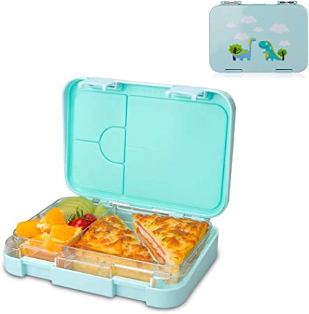 NEEGO Fiambrera Infantil 4 compartimentos Fiambrera Niños Libre BPA Fiambrera a Prueba de Fugas Caja de Almuerzo Segura para Microondas, Lavavajillas, Caja de Almuerzo Chico Fiambrera, Azul: Amazon.es: Hogar