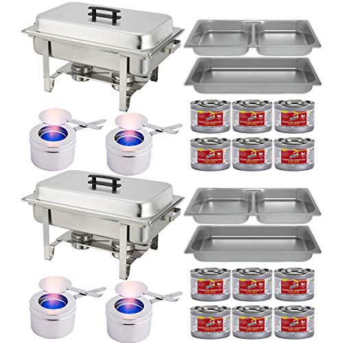 Chafing Dish Buffet Set w/Fuel — Divided pan (4qt x 2)+ Full Pan (8 qt) Water Pan + Frame + Fuel Holders + 8 Fuel Cans - Two Full Warmer ()