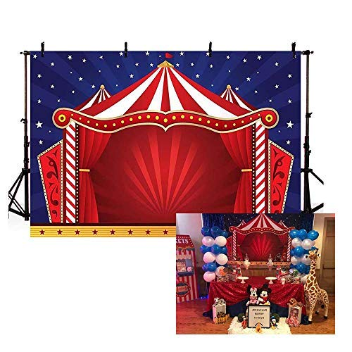 COMOPHOTO Circus Tent Photography Backdrops Glitter Stars Carnival Red Tent Kids Birthday Party Banner Decor Baby Shower Background for Pictures