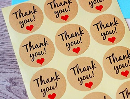 Thank You Label Envelopes Stickers Hand Made Retro Thank You Kraft Paper Stickers Card DIY Decorative Adhesive Label Decal for Wedding Party Gift Packaging Bake Decoration 100PCS, Q448 HEMALL