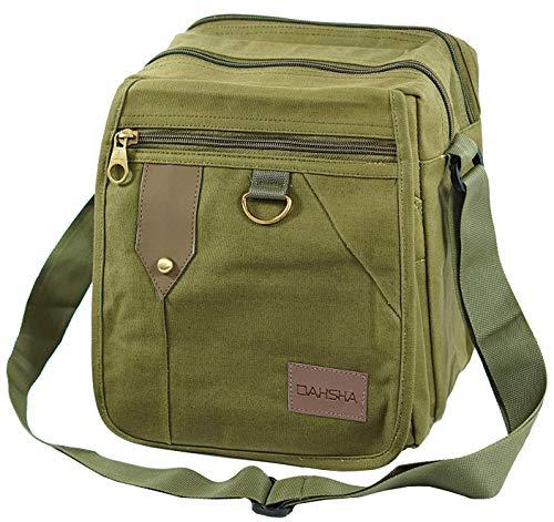 DAHSHA Cotton Sling Cross Body Travel Office Business Messenger Shoulder Bag (Olive, 22X15x25 cm)