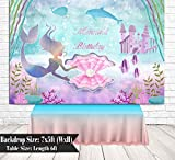 BoTong 7x5ft Under The Sea Little Mermaid Birthday Party Backdrop for Girls Photography Castle Whale Pearl Princess Birthday Background Wall Cake Table Props