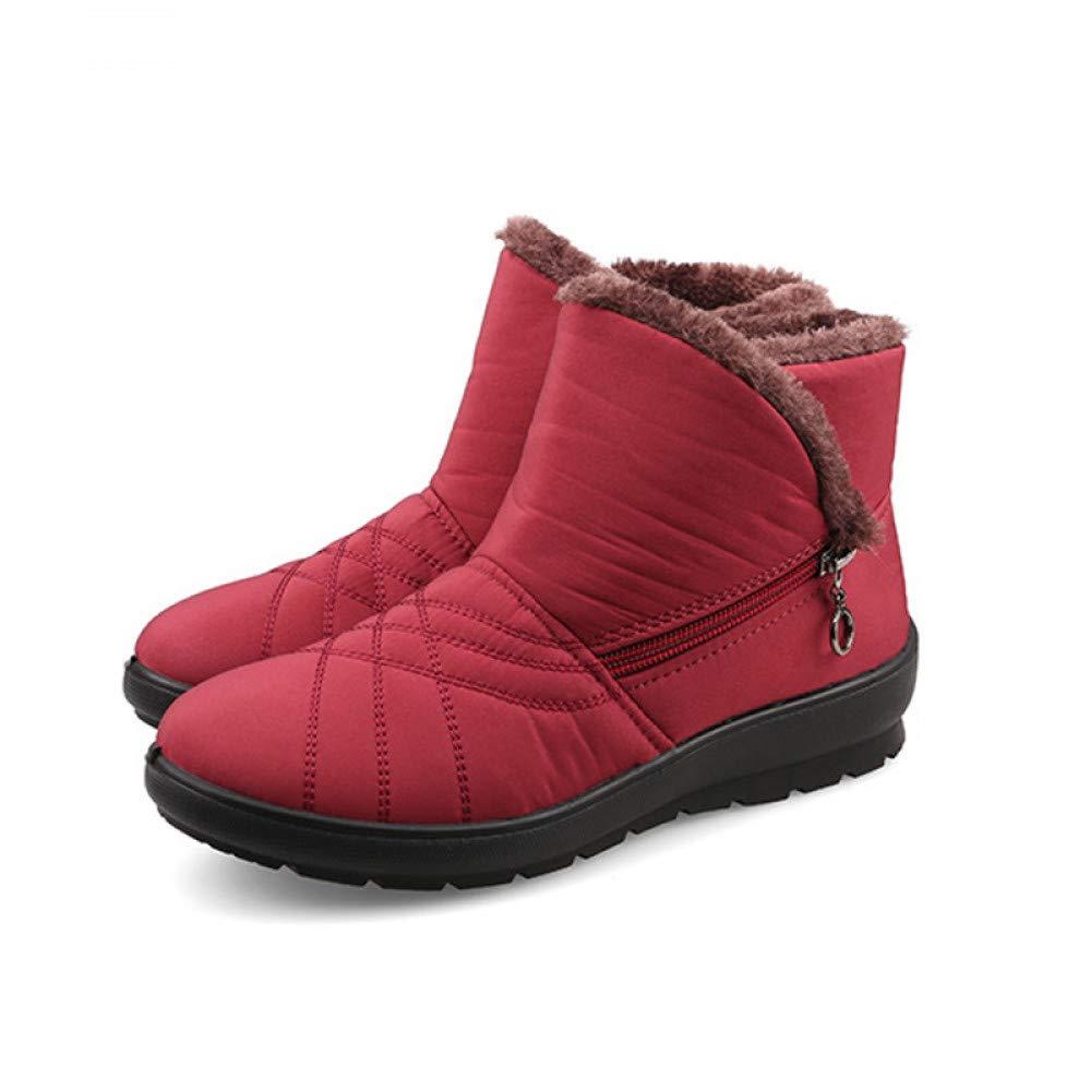 PINGXIANNV Herbst Winter Schnee Stiefeln Wasserdichte Frauen Stiefeletten Thermische Flachbild Rutschsichere Mode Schuhe Frau Stiefel