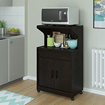 Elegant Look Howland Microwave Cart with Cabinet and Drawer Storage, Caster Wheeled