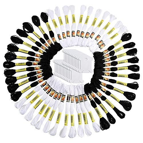 - Pllieay 48 Skeins Black and White Embroidery Cross Stitch Threads Friendship Bracelets Floss Cotton Embroidery Floss with 24 Pieces Floss Bobbins for Knitting, Embroidery and Cross Stitch Project
