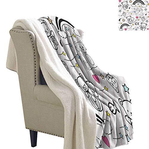 (Beihai1Sun Kids Blanket Small Quilt Kids Teddy Bears with Rainbows Warm Blanket 60x78 Inch)