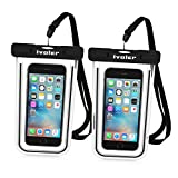 Waterproof Bag, [2 Pack] iVoler Clear Universal Snowproof Dirtproof Dry Bag Pouch for 6 / 6s Plus, iphone 7/7Plus, SE 5S 5C, Samsung Galaxy S6/S6 Edge/ S8 Plus/S8/s5 , ipod touch, Cell Phone up to 6 inches (Black + Black)
