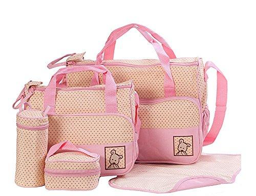 5 piezas multifuncional momia bolso bolsas bebé cambiar bolsa de pañales, negro rosa