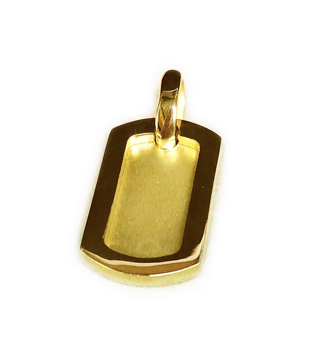 14KT Solid Yellow Gold Handcrafted Dog Tag Engraveable Charm Pendant 40 x 20 MM 18 Grams