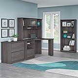 corner cabinet hutch - Cabot Corner Desk with Hutch, Lateral File Cabinet and 5 Shelf Bookcase