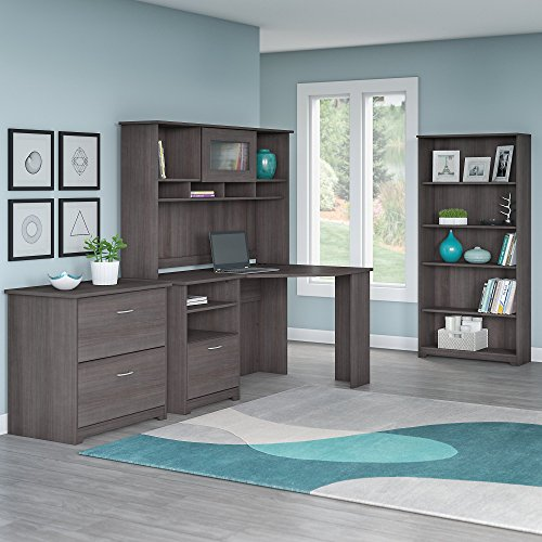 Cabot Corner Desk with Hutch, Lateral File Cabinet and 5 Shelf ()