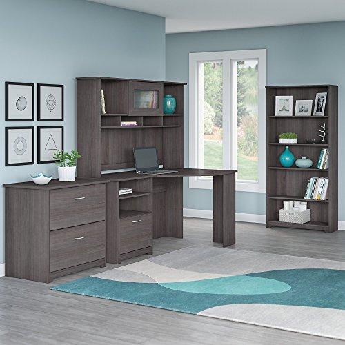 Cabot Corner Desk with Hutch, Lateral File Cabinet and 5 Shelf Bookcase