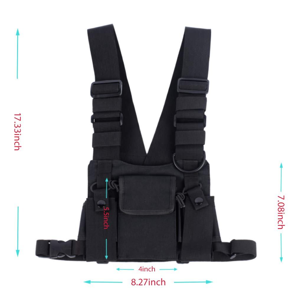 f4737d2c6107a Amazon.com: Saigain Universal Hands Free Radio Vest Chest Rig Harness Bag  Holster for Two Way Radio (Rescue Essentials): Cell Phones & Accessories