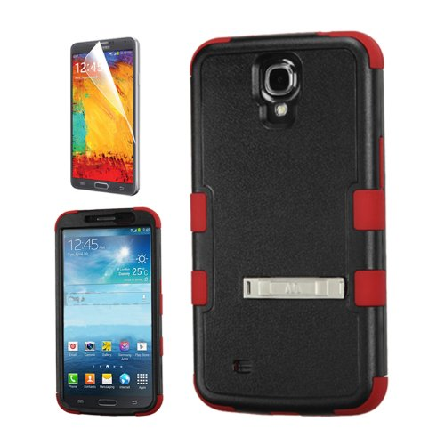 SAMSUNG GALAXY MEGA 6.3 BLACK RED HYBRID METAL STAND RIBCAGE COVER HARD GEL CASE + FREE SCREEN PROTECTOR from [ACCESSORY ARENA]