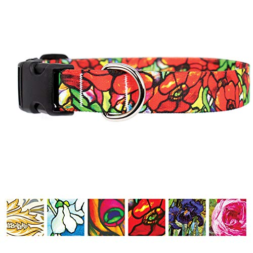 Buttonsmith Tiffany Poppies Dog Collar - Fadeproof Permanently Bonded Printing, Military Grade Rustproof Buckle, Resistant to Odors & Mildew, Choice of 5 Sizes, Made in The USA - Tiffany Poppy