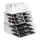 "SortWise [DIY Buildable - L] Detachable 9 Drawers Cosmetic Makeup Cosmetics Organizer Clear Acrylic Storage Container Box Case Multipurpose / 9.4"" X 11.88"" X 5.5"", 3 Pieces Set"
