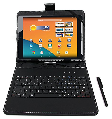 DURAGADGET Medion LifeTab S7852 Keyboard Case/Cover - Black Faux Leather Stand Case with Micro USB German Keyboard & Built-in Stand + Bonus Stylus Pen for The Medion LifeTab S7852