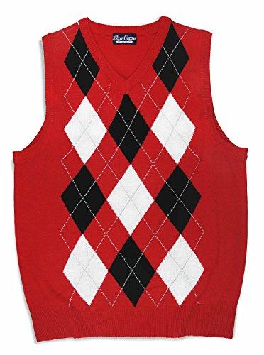 Red Argyle Sweater Vest - 6