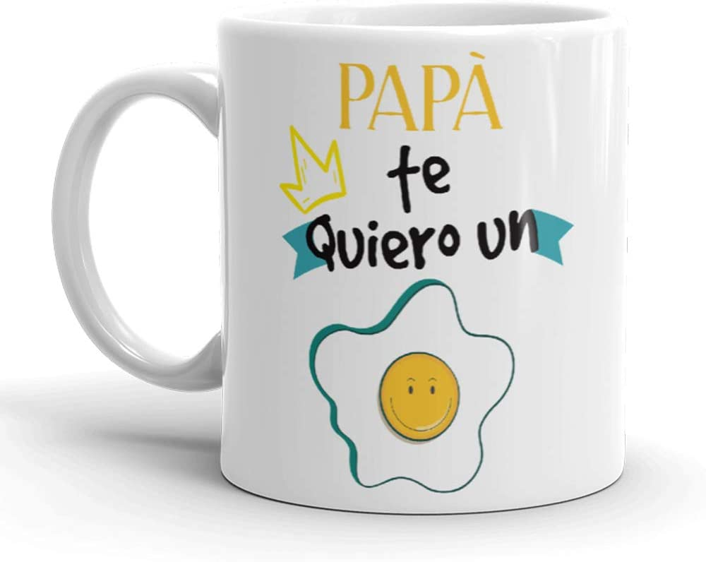 Kembilove Taza de Café para Papá te Quiero un Huevo – Taza de Desayuno para Regalar el día del Padre – Tazas de Café y Té para Padres y Abuelos – Regalos Originales