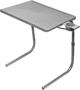 Table Mate II Folding TV Tray Table and Cup Holder with 6 Height and 3 Angle Adjustments The Original TV Tray (Silver)
