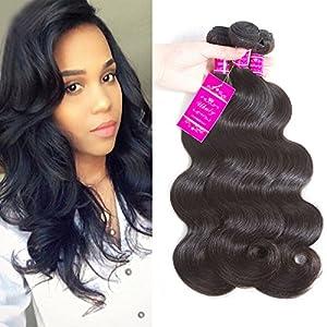 Brazilian Body Wave 3 Bundles Virgin Brazilian Hair 100% Unprocessed Human Hair Extensions (10.10.12, natural color)