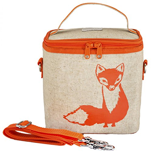 SoYoung Small Cooler Bag - Lunch - Raw Linen, Eco-Friendly, Leakproof, Easy to Clean - Orange Fox (Raw Linen)