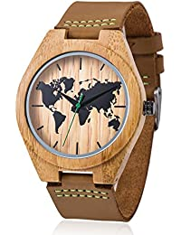 Mens Wooden Bamboo Watch, Genuine Cowhide Leather Strap, Handmade Lightweight Japan Miyota Movement Natural