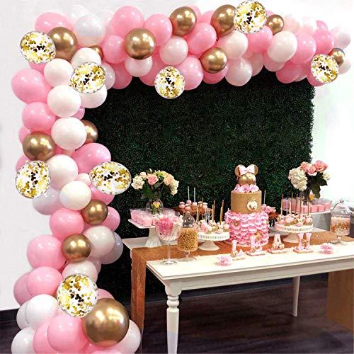 AivaToba Kit de Guirnalda de Globos Arch, 6 pies de Largo 115 Piezas Globos de Oro Blanco Rosa Paquete de Arco para nina Cumpleanos Baby Shower Despedida de Soltera Decoraciones de la Boda