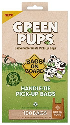 GREEN-PUPS Handle Tie Dog Waste Bags, 100 Bags by Bags on Board