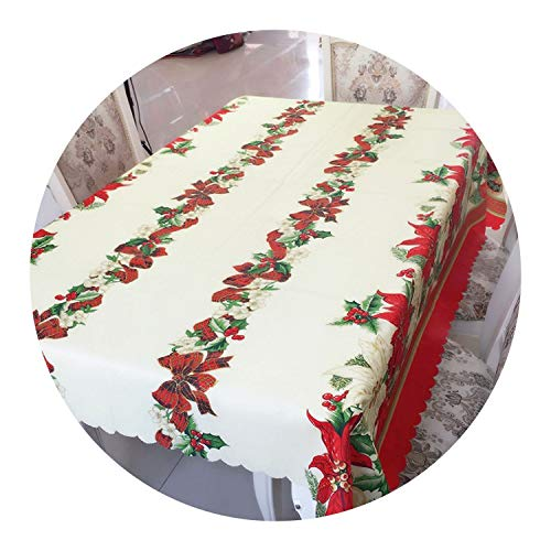 - 1pcs New Christmas Wedding Outdoor Tablecloth Christmas Printed Tablecloths Decorations Rectangular Tablecloth Prints Creative,White red,150x220cm