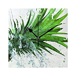 HangWang Wall Clock Pineapple Ice Water Silent Non Ticking Decorative Square Digital Clocks for Home/Office/School Clock