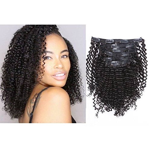 Beauty : Anrosa Kinky Clip ins Curly Hair Extensions Natural Hair Afro Kinkys Curly Clip in Hair Extensions for African American Black Women 3B 3C 4A Hair Thick Human Hair 1B Natural Black 120 Gram 12 Inch