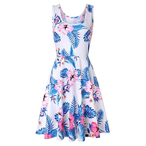 Printing A Sleeveless Summer Women's NREALY Floral Dress Casual Falda Beach Line White Dress FgwUtHq