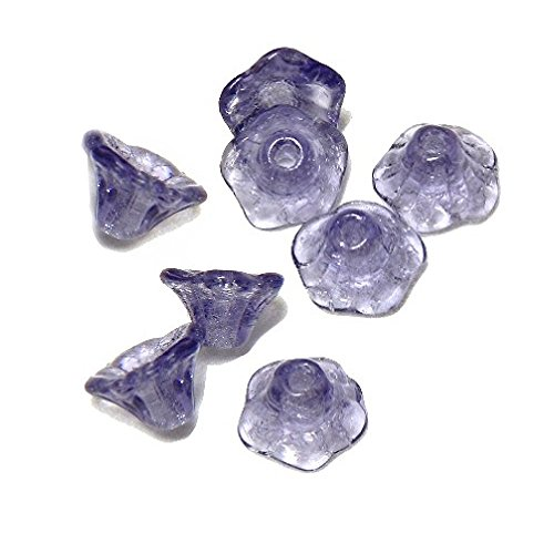 LEAF OR FLOWER GLASS BEADS choose style FLAT or DROP LEAF MINI BELL FLOWERS 50 Beads (Flower Plum -