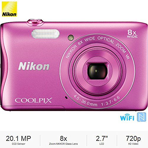 Nikon COOLPIX S3700 20.1MP Digital Camera HD Video, Pink (26476B) – (Certified Refurbished)