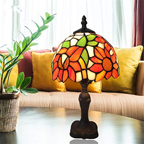 (Tiffany Style Table Lamp Idyllic Sunflower Stained Glass European Style Table Lamp in Height 12.99 Inch for Living Living Room Study Bedroom )