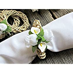 Easter Napkin Rings- White Calla Lily and Rose Wicker Wreaths- Spring Party Table Decor (Set of 4, 6, 8, 10, 12)