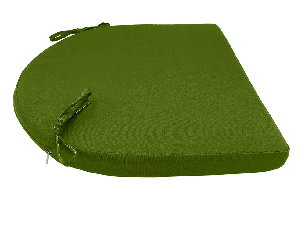 Sigmat Indoor Outdoor Solid Wicker Seat Cushions U Shape Cushion 19 in. L X 19 in. W X 2 in. D Green
