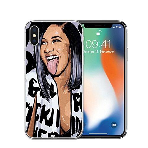 Celebrity Cases - CH White Black Cardi B iPhone 8 Plus Case Rapper Themed 7 Plus Cover Tongue Musican Famous Celebrity Singer Rap Music Finesse Fan Artist, TPU