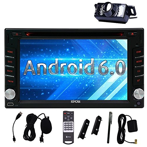 Eincar 6.2 inch Android 6.0 Car Stereo 2 Din in Dash GPS Navigation Radio Bluetooth Head Unit Phone Mirroring Dual CAM-IN WIFI Remote Control External Microphone OBD2 3G/4G(Optional)+Backup Cam