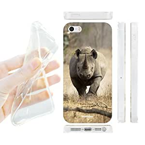 Head Case Designs Running Black Rhino Wildlife Gel Back Case Cover for Apple iPhone 5 5s