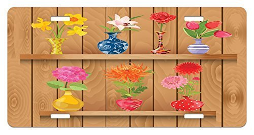 zaeshe3536658 DaffodiLicense Plate, Glass Vases with ColorfuFlowers on Wooden Shelves with PasteEffects Artsy Graphic, High Gloss Aluminum Novelty Plate, 6 X 12 Inches, Multi
