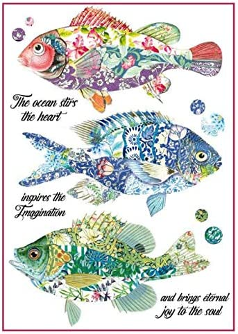 29.7 x 21 Stamperia International KFT A4 Decoupage Rice Paper Wrapped Fantasy Fish Multicoloured