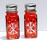 Hand Painted Red White Snowflake Salt and Pepper Shakers Set, Christmas Decor