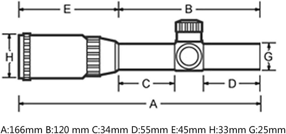 Ohhunt 4.5x20E Compact-Jagd-Gewehr-Bereich Rot beleuchtete Glas ge/ätzte Absehen Zielfernrohr mit Flip-Open Objektivdeckel und Ringen